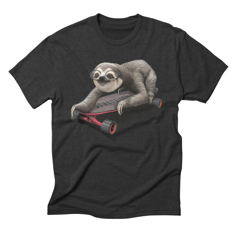 SLOTH ON SKATEBOARD Men's Triblend T-Shirt by gallerianarniaz's Artist Shop