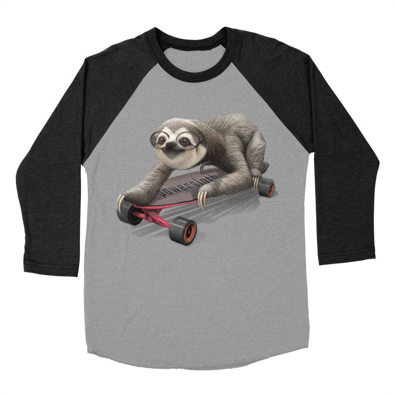 SLOTH ON SKATEBOARD Men's Baseball Triblend T-Shirt by gallerianarniaz's Artist Shop