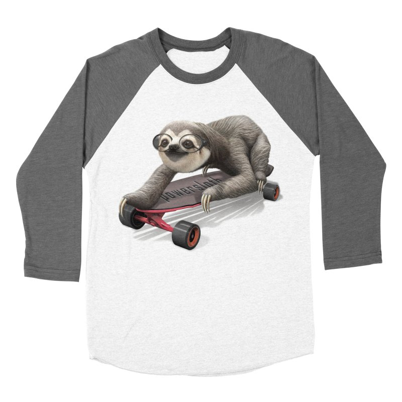 SLOTH ON SKATEBOARD Men's Baseball Triblend T-Shirt by gallerianarniaz's Artist Shop