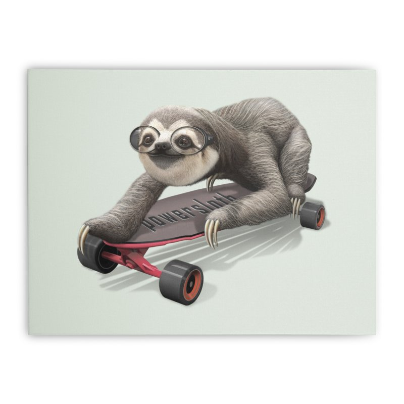 SLOTH ON SKATEBOARD Home Stretched Canvas by gallerianarniaz's Artist Shop