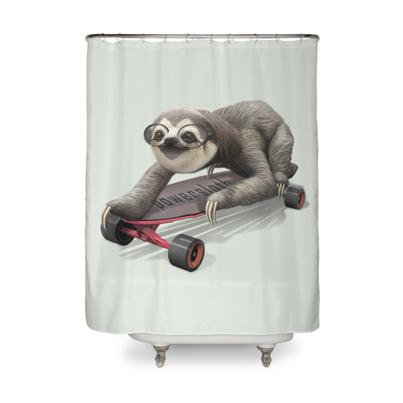 SLOTH ON SKATEBOARD Home Shower Curtain by gallerianarniaz's Artist Shop