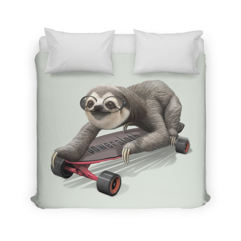 SLOTH ON SKATEBOARD Home Duvet by gallerianarniaz's Artist Shop