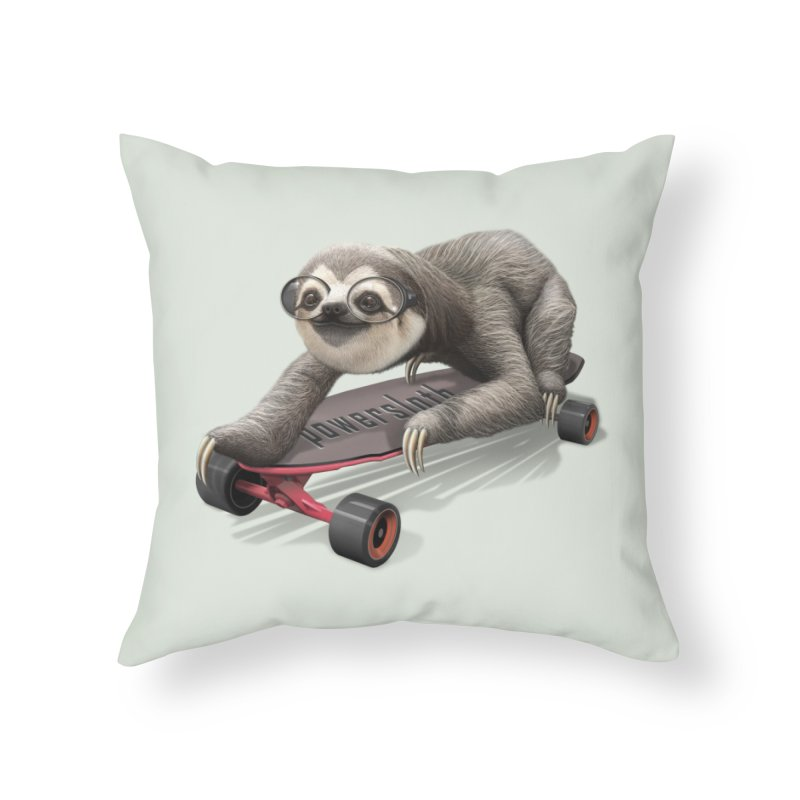 SLOTH ON SKATEBOARD Home Throw Pillow by gallerianarniaz's Artist Shop