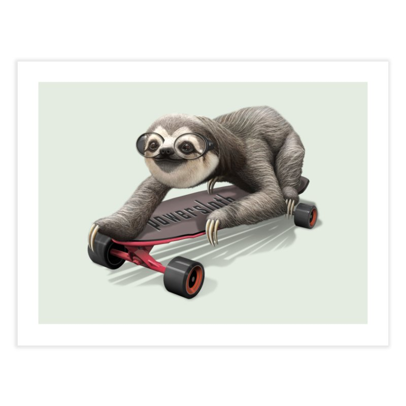 SLOTH ON SKATEBOARD Home Fine Art Print by gallerianarniaz's Artist Shop