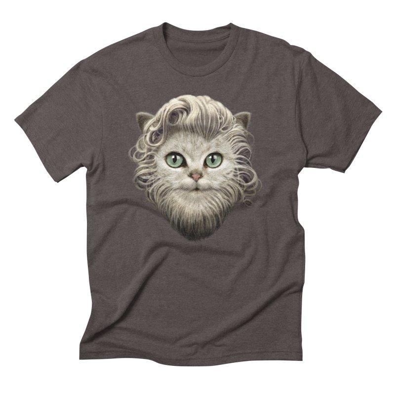 MOUSTACHE CAT Men's Triblend T-shirt by gallerianarniaz's Artist Shop