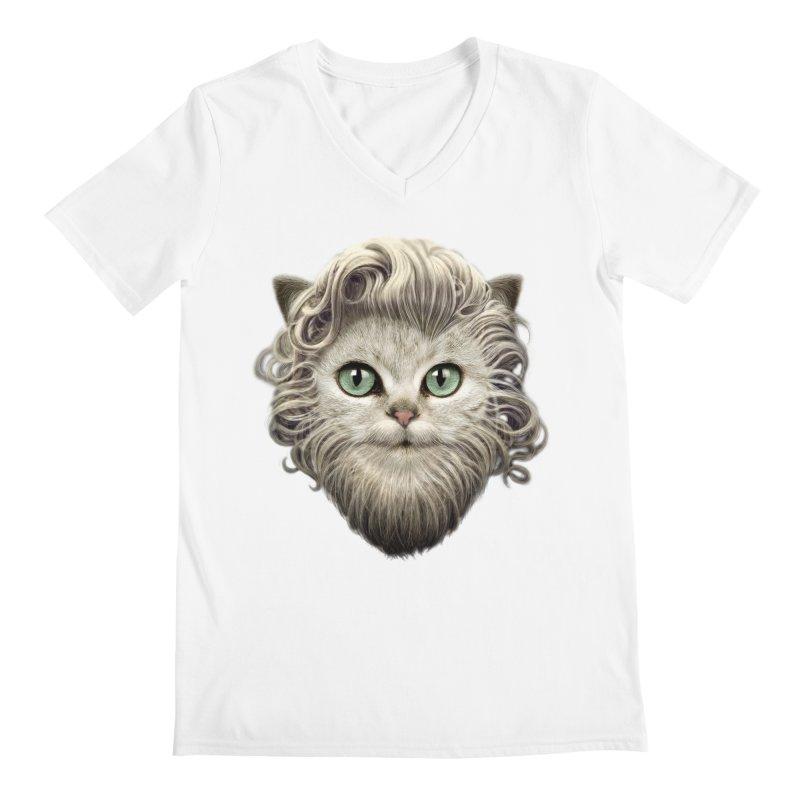 MOUSTACHE CAT Men's V-Neck by gallerianarniaz's Artist Shop