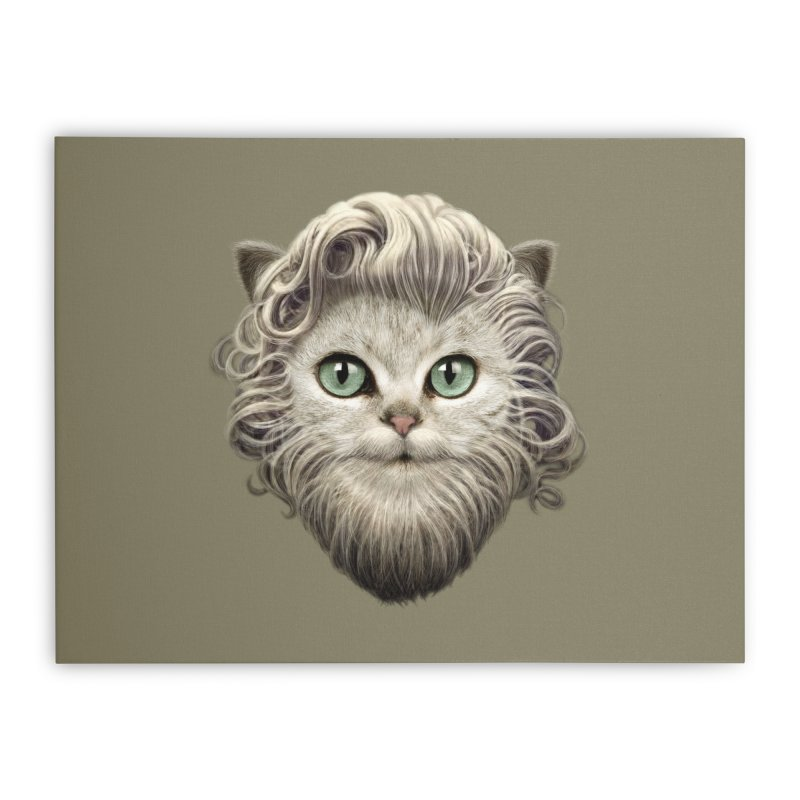 MOUSTACHE CAT Home Stretched Canvas by gallerianarniaz's Artist Shop