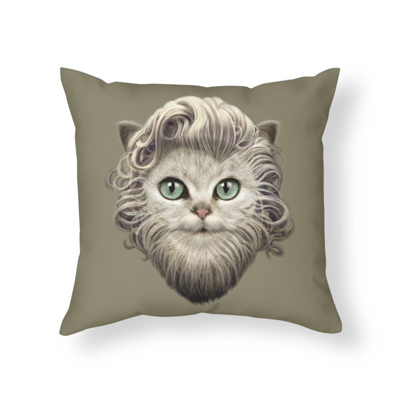 MOUSTACHE CAT Home Throw Pillow by gallerianarniaz's Artist Shop