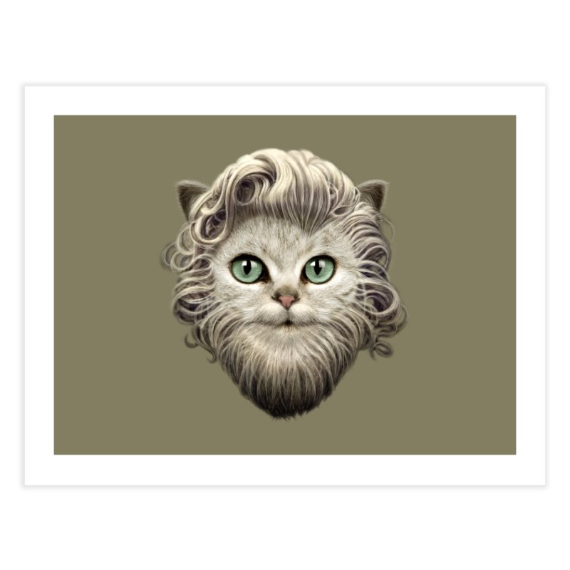 MOUSTACHE CAT Home Fine Art Print by gallerianarniaz's Artist Shop