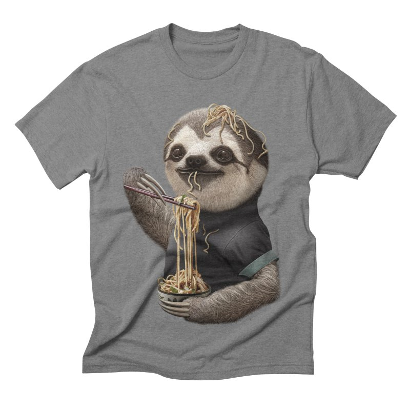 SLOTH EAT NOODLE Men's Triblend T-shirt by gallerianarniaz's Artist Shop