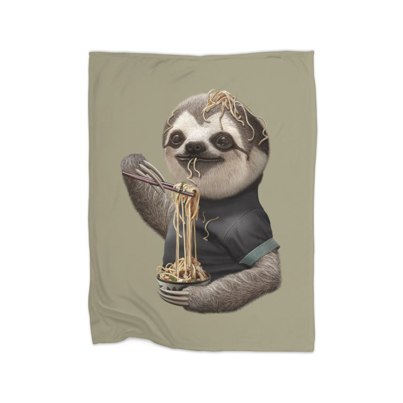 SLOTH EAT NOODLE Home Blanket by gallerianarniaz's Artist Shop