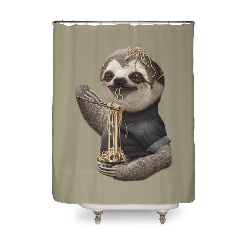 SLOTH EAT NOODLE Home Shower Curtain by gallerianarniaz's Artist Shop