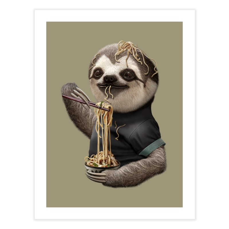 SLOTH EAT NOODLE Home Fine Art Print by gallerianarniaz's Artist Shop
