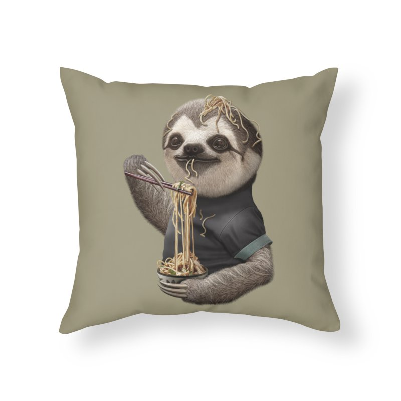SLOTH EAT NOODLE Home Throw Pillow by gallerianarniaz's Artist Shop