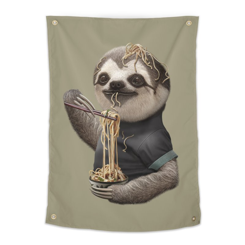 SLOTH EAT NOODLE Home Tapestry by gallerianarniaz's Artist Shop