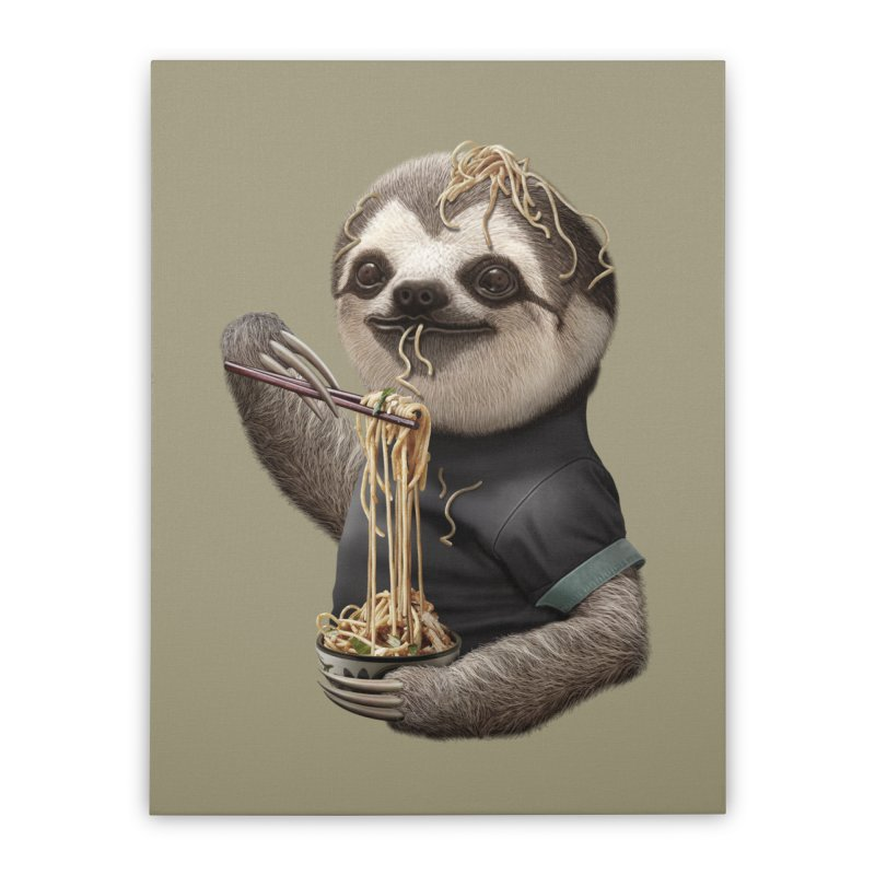 SLOTH EAT NOODLE Home Stretched Canvas by gallerianarniaz's Artist Shop