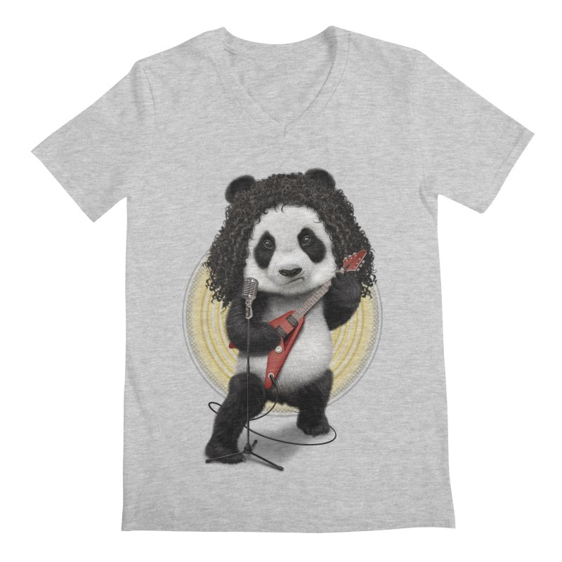 PANDA ROCKER 2017 Men's V-Neck by gallerianarniaz's Artist Shop
