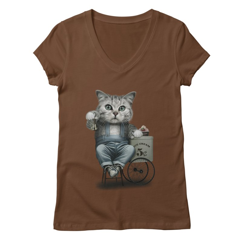 ICE CREAM SELLER Women's V-Neck by gallerianarniaz's Artist Shop