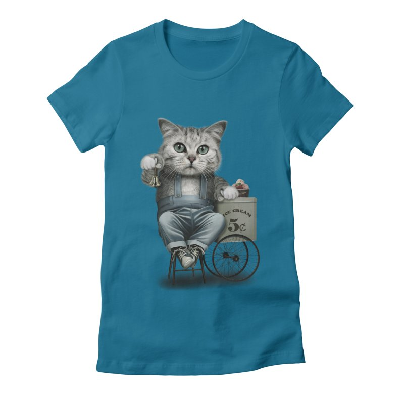 ICE CREAM SELLER Women's Fitted T-Shirt by gallerianarniaz's Artist Shop