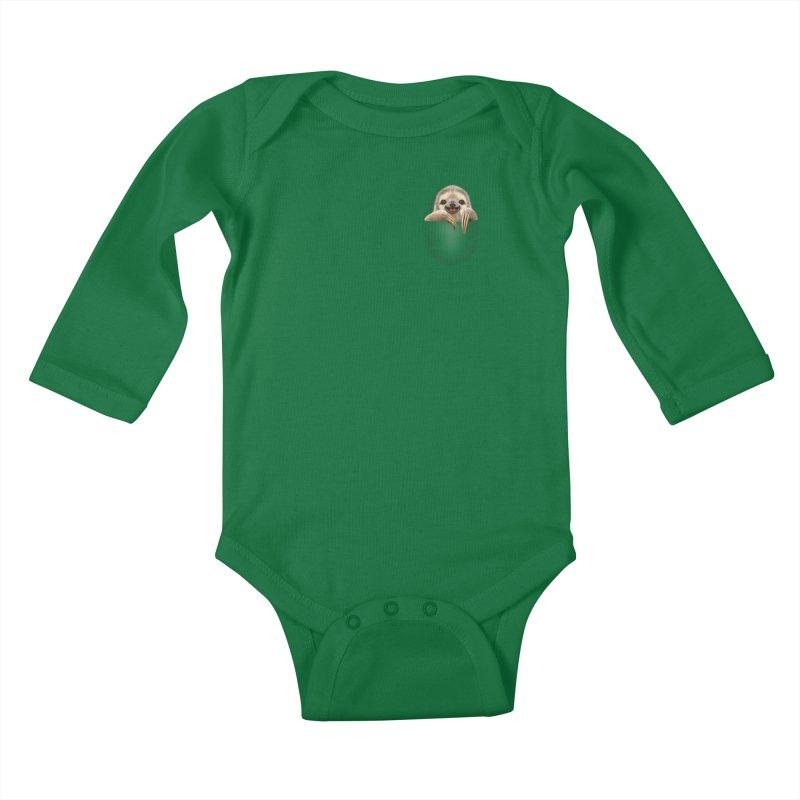 POCKET SLOTH Kids Baby Longsleeve Bodysuit by gallerianarniaz's Artist Shop