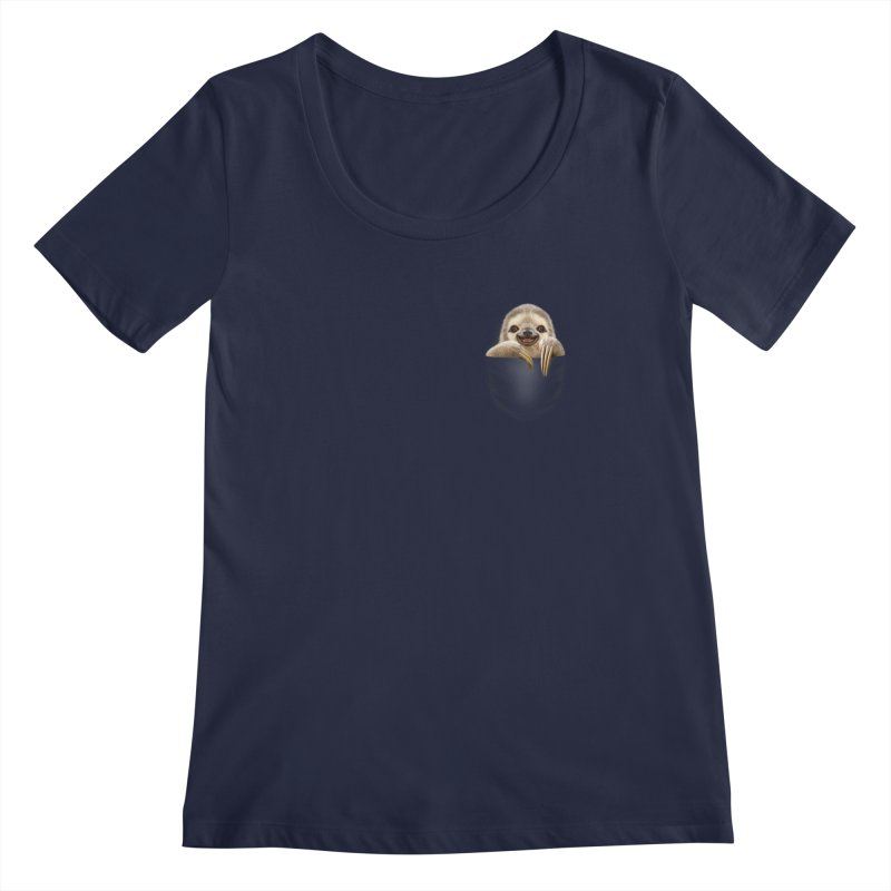 POCKET SLOTH Women's Scoopneck by gallerianarniaz's Artist Shop