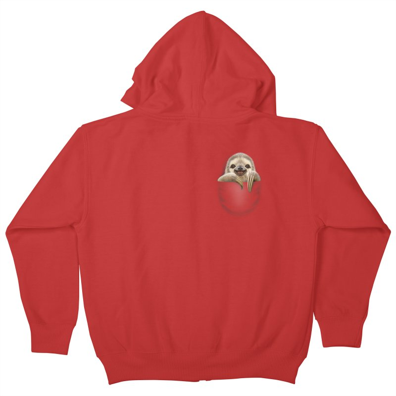 POCKET SLOTH Kids Zip-Up Hoody by gallerianarniaz's Artist Shop