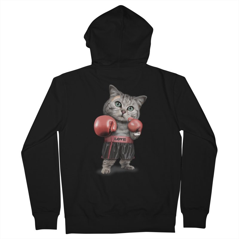 BOXING CAT Women's Zip-Up Hoody by gallerianarniaz's Artist Shop
