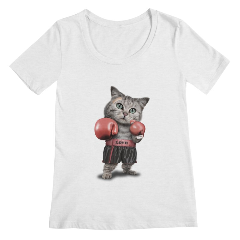 BOXING CAT Women's Scoopneck by gallerianarniaz's Artist Shop