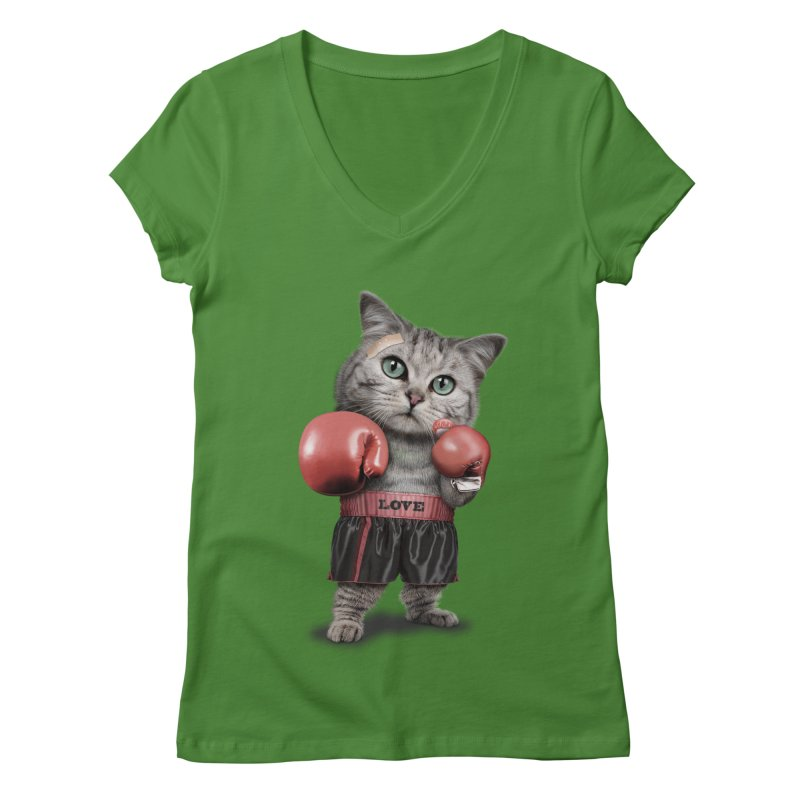 BOXING CAT Women's V-Neck by gallerianarniaz's Artist Shop