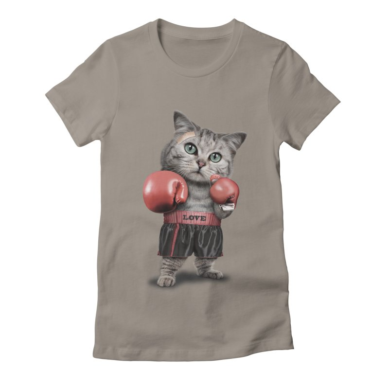 BOXING CAT Women's Fitted T-Shirt by gallerianarniaz's Artist Shop