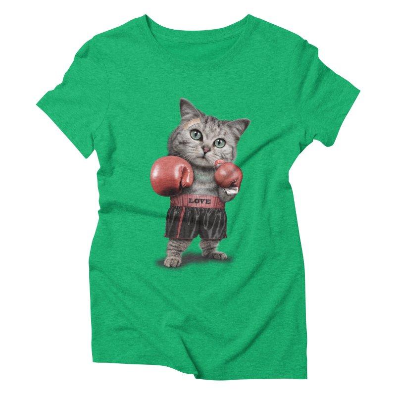 BOXING CAT Women's Triblend T-shirt by gallerianarniaz's Artist Shop