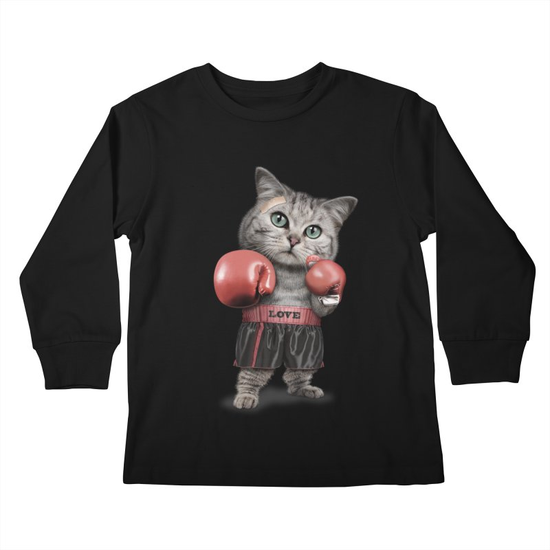 BOXING CAT Kids Longsleeve T-Shirt by gallerianarniaz's Artist Shop