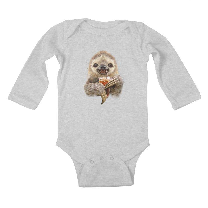 SLOTH & SOFT DRINK Kids Baby Longsleeve Bodysuit by gallerianarniaz's Artist Shop