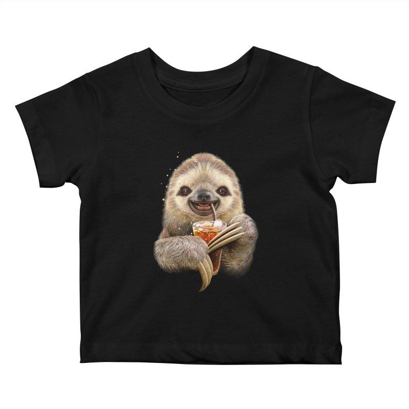 SLOTH & SOFT DRINK Kids Baby T-Shirt by gallerianarniaz's Artist Shop