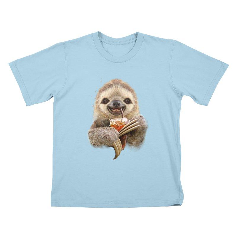 SLOTH & SOFT DRINK Kids T-Shirt by gallerianarniaz's Artist Shop