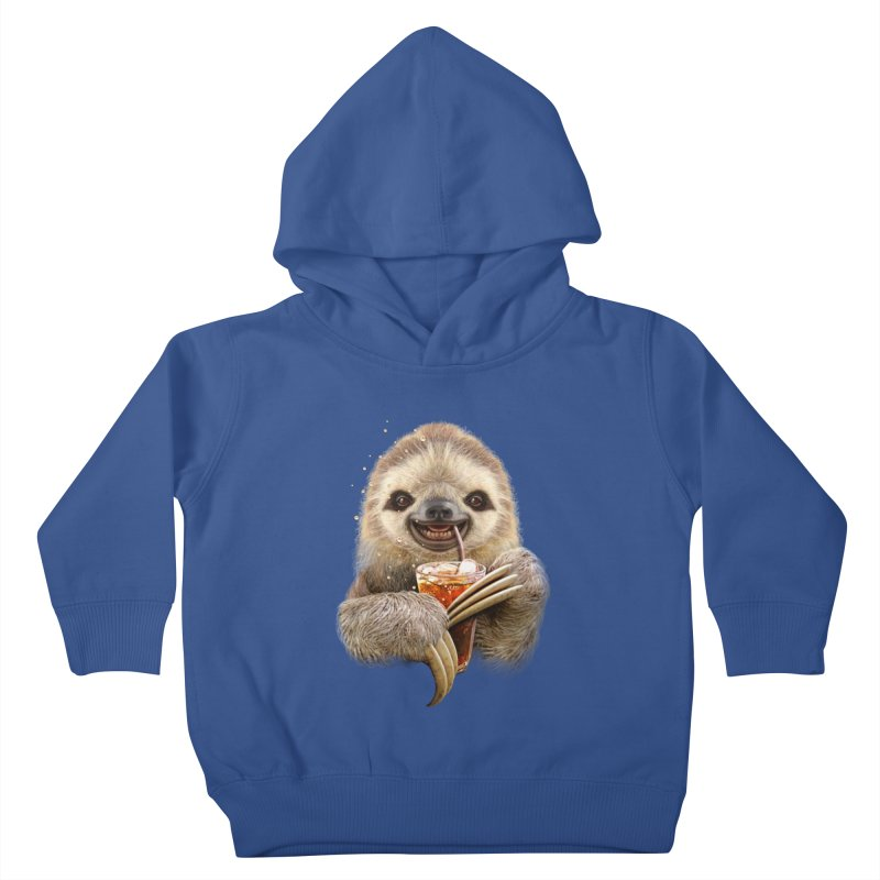 SLOTH & SOFT DRINK Kids Toddler Pullover Hoody by gallerianarniaz's Artist Shop