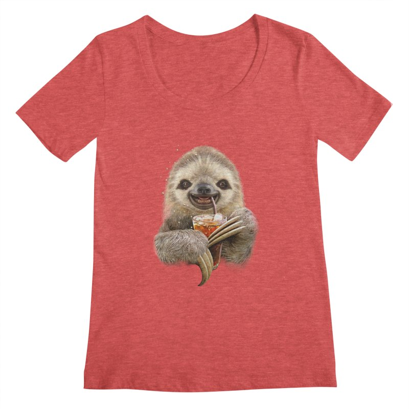 SLOTH & SOFT DRINK Women's Scoopneck by gallerianarniaz's Artist Shop