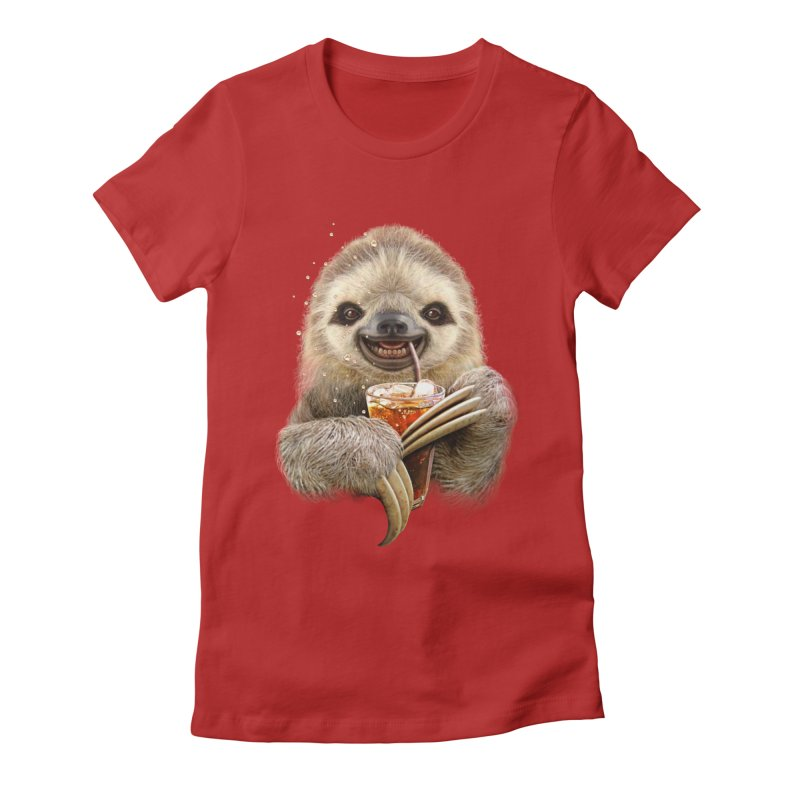 SLOTH & SOFT DRINK Women's Fitted T-Shirt by gallerianarniaz's Artist Shop