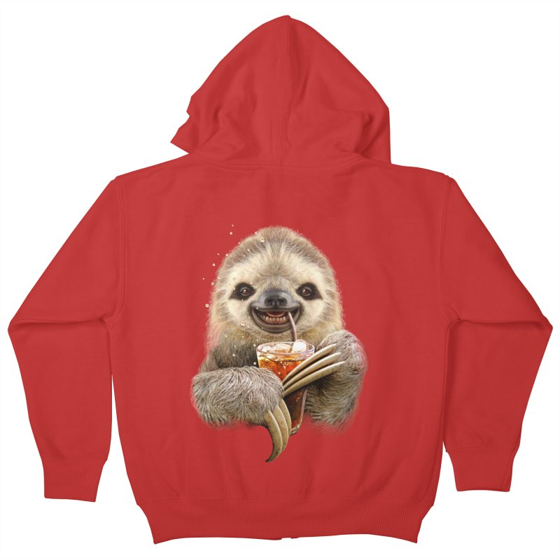 SLOTH & SOFT DRINK Kids Zip-Up Hoody by gallerianarniaz's Artist Shop