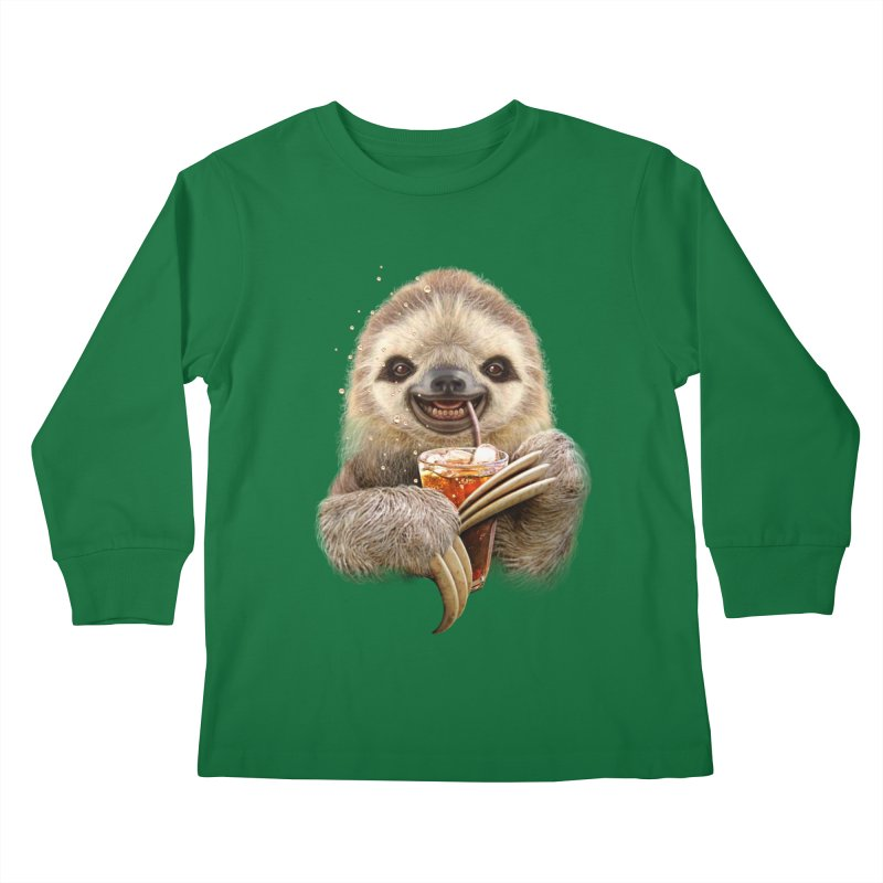 SLOTH & SOFT DRINK Kids Longsleeve T-Shirt by gallerianarniaz's Artist Shop