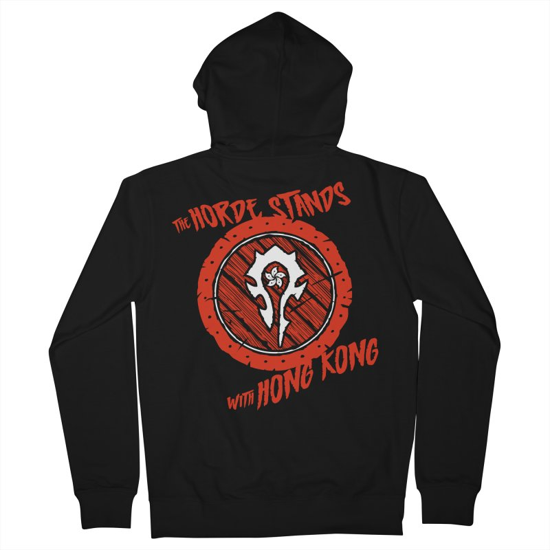 The Horde Stands With Hong Kong Men's French Terry Zip-Up Hoody by Gamma Bomb - Explosively Mutating Your Look