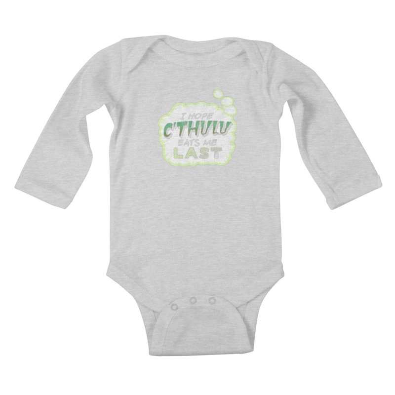 Deep One Thoughts Kids Baby Longsleeve Bodysuit by Gamma Bomb - Explosively Mutating Your Look