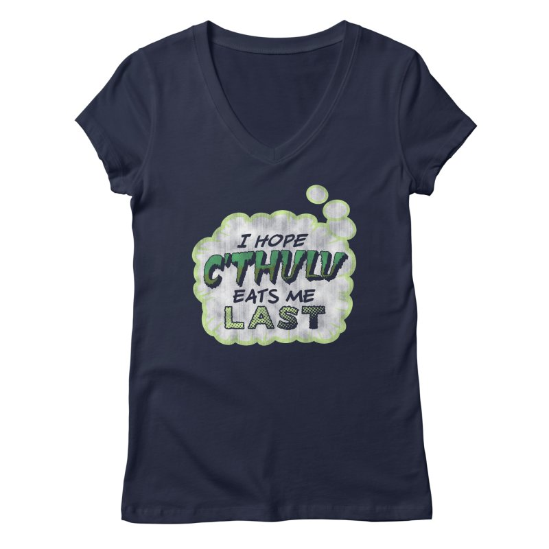Deep One Thoughts Women's Regular V-Neck by Gamma Bomb - Explosively Mutating Your Look