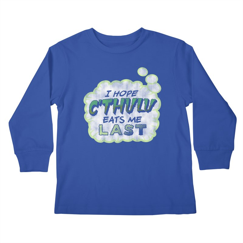Deep One Thoughts Kids Longsleeve T-Shirt by Gamma Bomb - Explosively Mutating Your Look