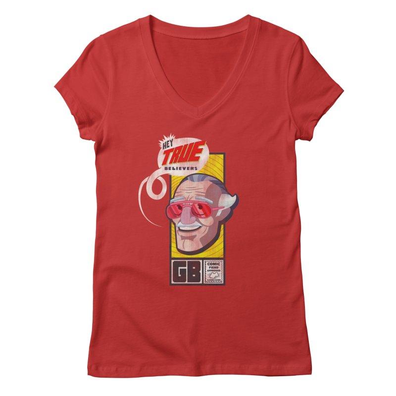 True Believer - Fearless Flavor Women's Regular V-Neck by Gamma Bomb - Explosively Mutating Your Look