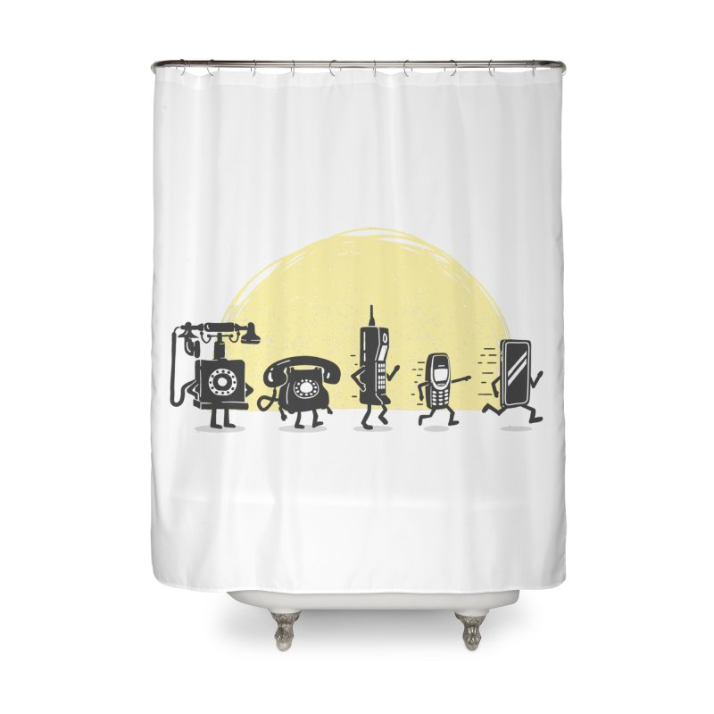 The evolution of the mobile phone Home Shower Curtain by Gamma-Ray Designs