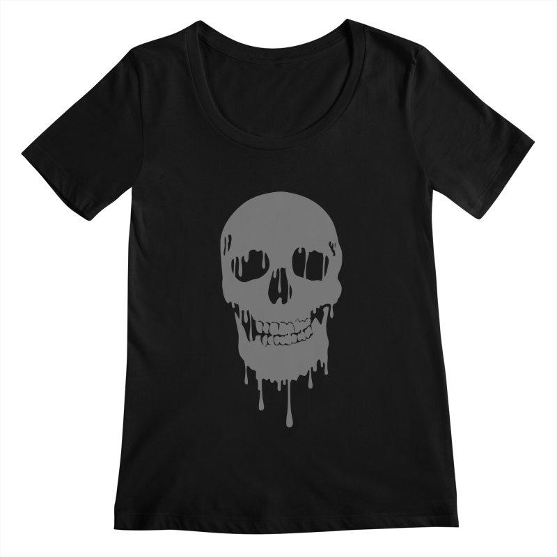 Melted skull Women's Scoopneck by garabattos's Artist Shop