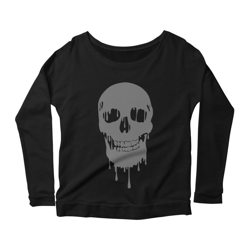 Melted skull Women's Longsleeve Scoopneck  by garabattos's Artist Shop