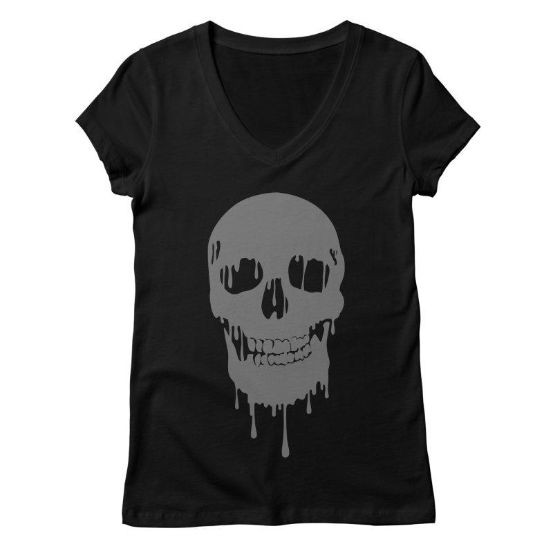Melted skull Women's V-Neck by garabattos's Artist Shop