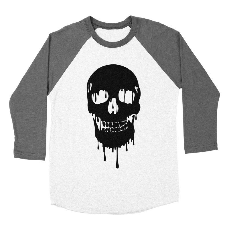 Melted skull - bk Men's Baseball Triblend T-Shirt by garabattos's Artist Shop